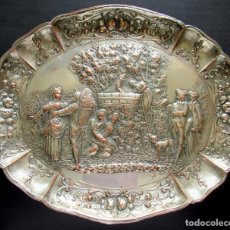 Antigüedades: ANTIGUA BANDEJA DECORATIVA REPUJADA EN COBRE Y PLATEADA. S. XIX. 45X37X3,5 CM. 900 GRS.. Lote 283384778