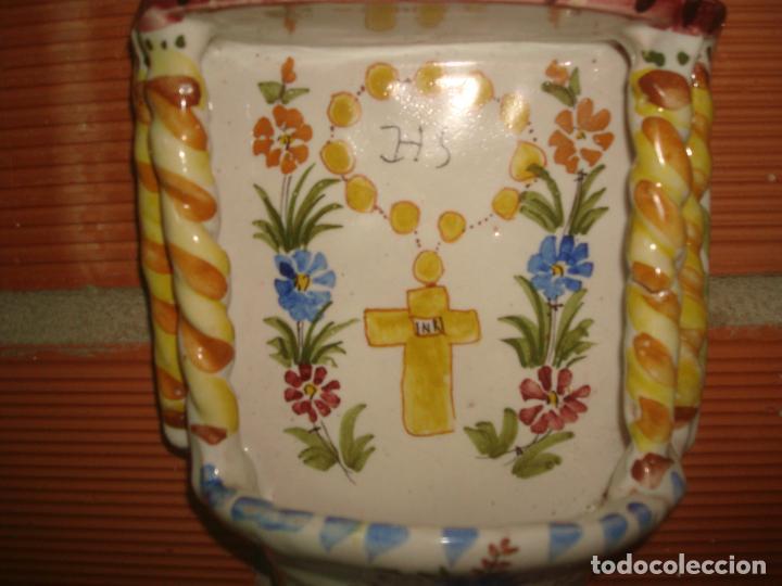 Antigüedades: antigua benditera lario murcia pintada a mano - Foto 3 - 283461213