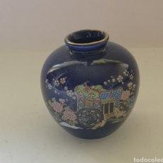 Antigüedades: PEQUEÑO JARRÓN COBALTO DORADO FLORES SATSUMA JAPAN. Lote 283486428