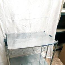 Antigüedades: MESITA INOXIDABLE MESA AUXILIAR CABINETE MEDICO PLEGABLE MESITA CAMARERA. Lote 283809558