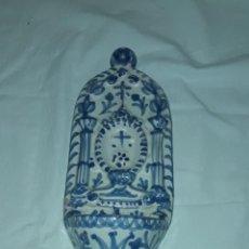 Antigüedades: BELLA BENDITERA DE CERÁMICA ÁRABE SAN ISIDRO GRANADA 28CM. Lote 283843813