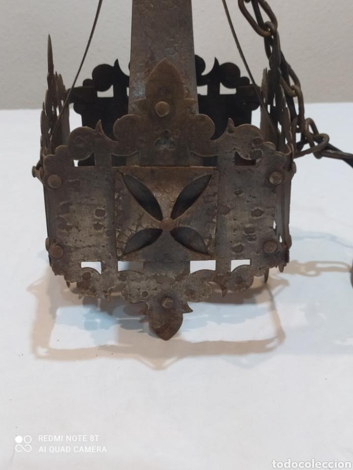 Antigüedades: Increíble lampara antigua de hierro forjado - Foto 2 - 283965063