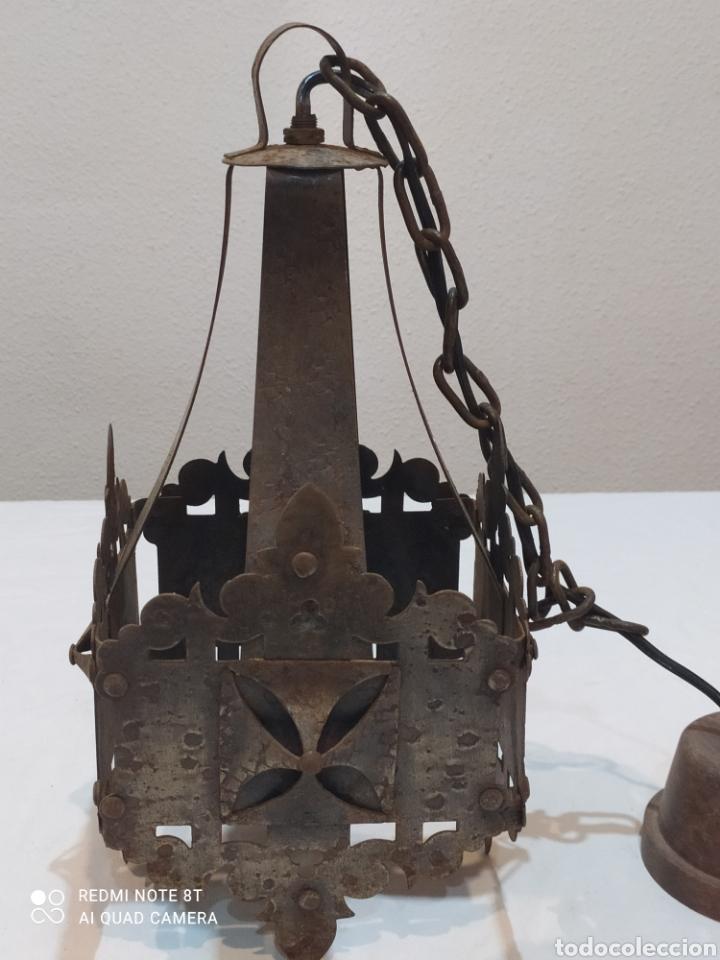 Antigüedades: Increíble lampara antigua de hierro forjado - Foto 3 - 283965063