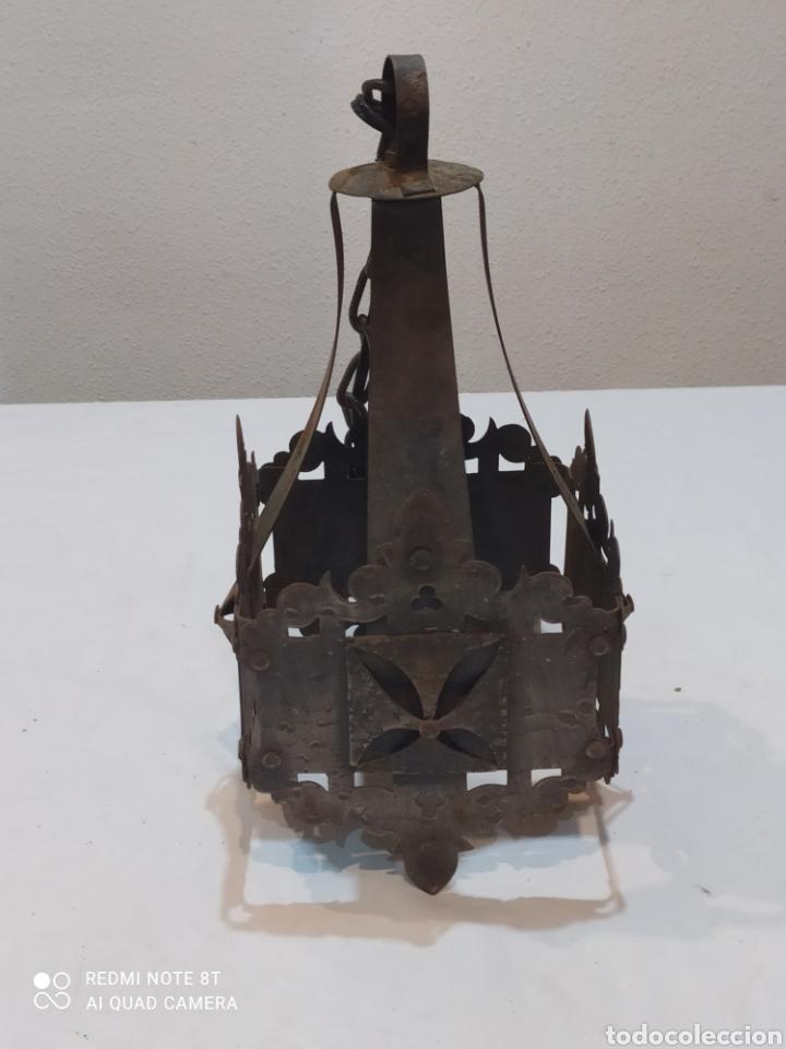 Antigüedades: Increíble lampara antigua de hierro forjado - Foto 5 - 283965063