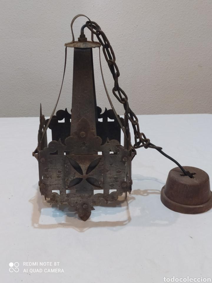 INCREÍBLE LAMPARA ANTIGUA DE HIERRO FORJADO (Antigüedades - Iluminación - Lámparas Antiguas)