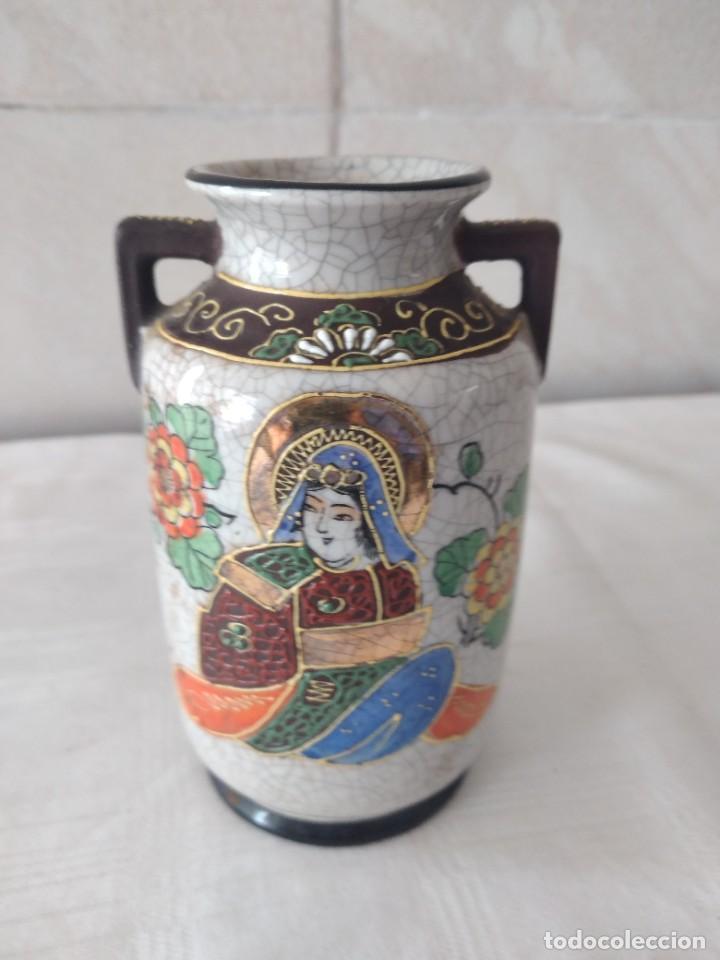 Antigüedades: Bonito jarrón de porcelana craquelada satsuma - Foto 2 - 284288228