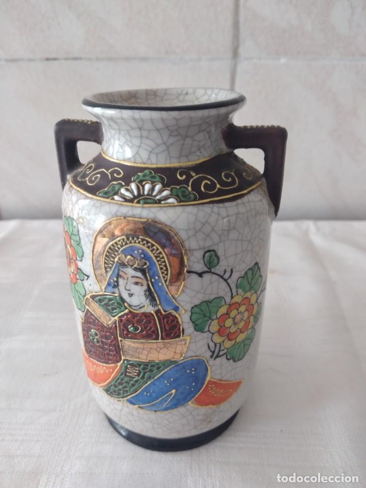 Antigüedades: Bonito jarrón de porcelana craquelada satsuma - Foto 4 - 284288228