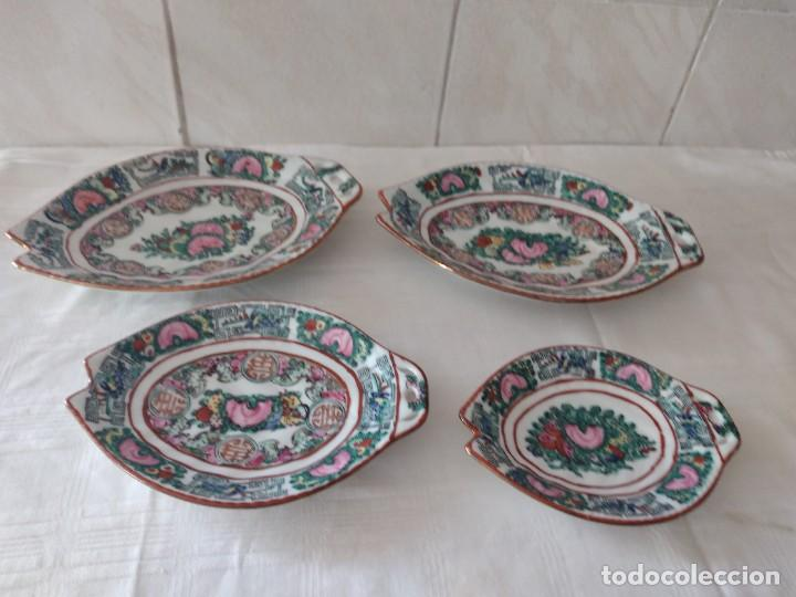 LOTE DE 4 ANTIGUAS FUENTES DE PORCELANA CHINA PINTADAS A MANO, SELLADAS. (Antigüedades - Porcelanas y Cerámicas - China)