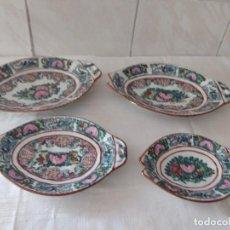 Antiquités: LOTE DE 4 ANTIGUAS FUENTES DE PORCELANA CHINA PINTADAS A MANO, SELLADAS.. Lote 284289153