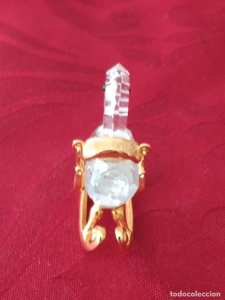 Antigüedades: caballito balancin de cristal swarovski y metal dorado, autentico - Foto 5 - 284302328