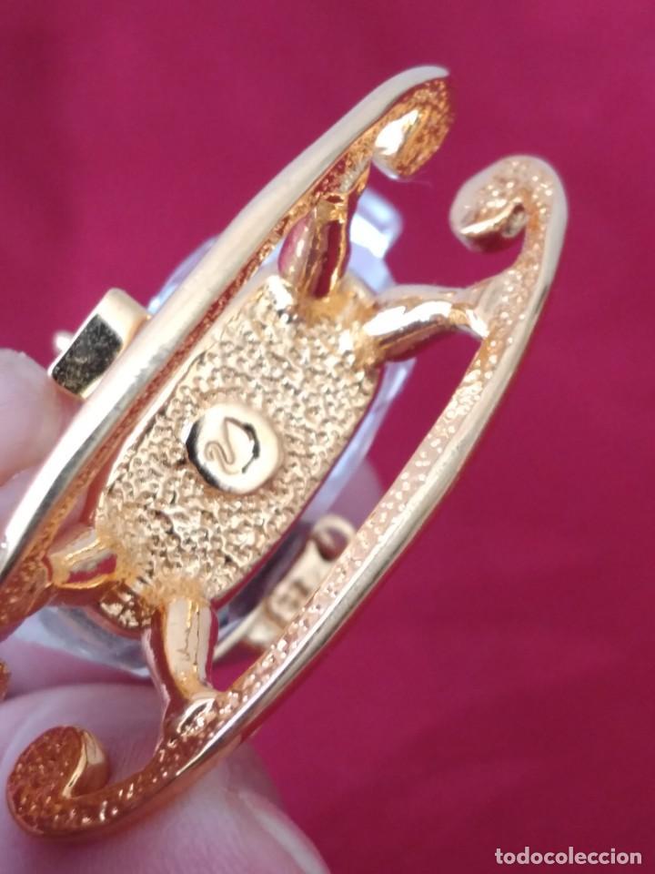 Antigüedades: caballito balancin de cristal swarovski y metal dorado, autentico - Foto 6 - 284302328