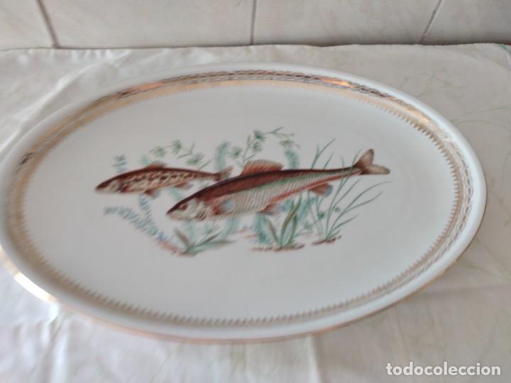 Antigüedades: Preciosa fuente oval de porcelana koenig porzellan bavaria,motivo peces y borde de oro - Foto 2 - 284412708