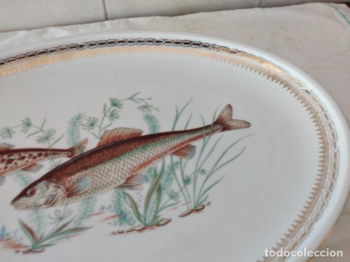 Antigüedades: Preciosa fuente oval de porcelana koenig porzellan bavaria,motivo peces y borde de oro - Foto 3 - 284412708