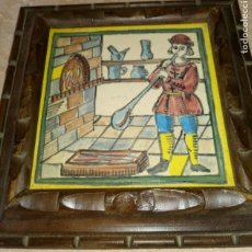 Antigüedades: REPRODUCCIÓN AZULEJO OFICIOS - SOPLADOR DE VIDRIO - MARCO DE MADERA. Lote 284458738