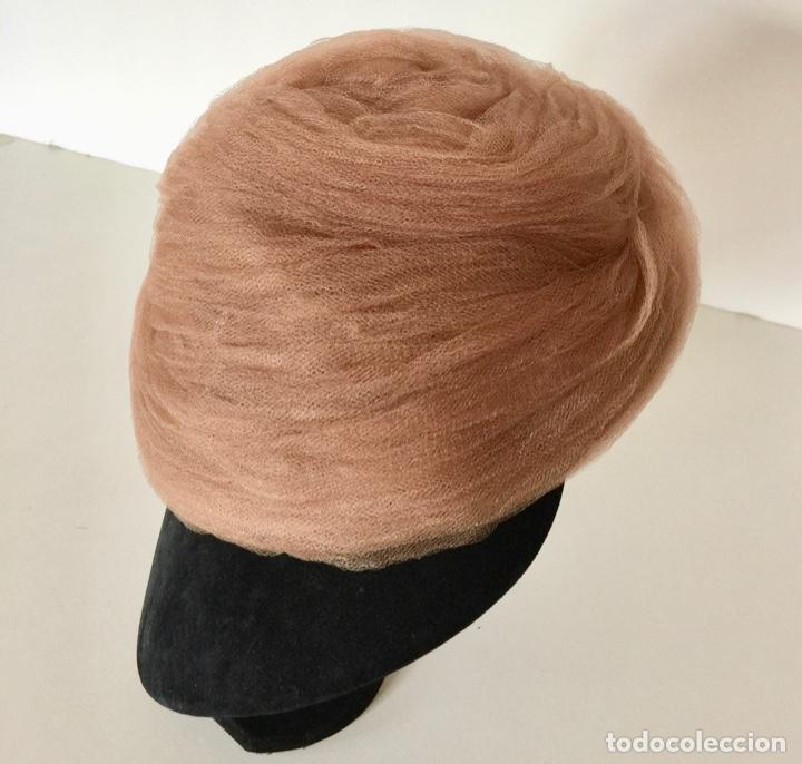 SOMBRERO TIPO TOCADO DE TUL VINTAGE 1950 (Antigüedades - Moda - Sombreros Antiguos)