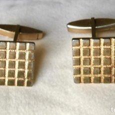 Antigüedades: GEMELOS METAL DORADO BANO DE ORO VINTAGE 1960. Lote 284595588
