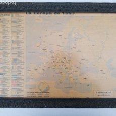 Antigüedades: ANTIGUO CUADRO DE MAPA DE LOS 45 PAÍSES DE EUROPA DEL 1993 MEDIDAS 63×45. Lote 284627618