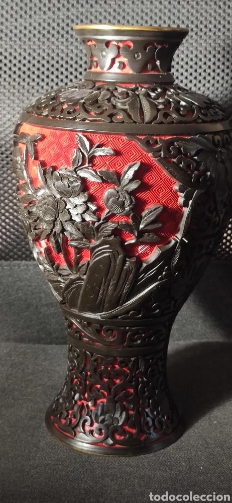 Antigüedades: Jarron chino laca cinabrio - Foto 4 - 284635353