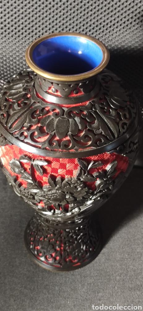 Antigüedades: Jarron chino laca cinabrio - Foto 5 - 284635353