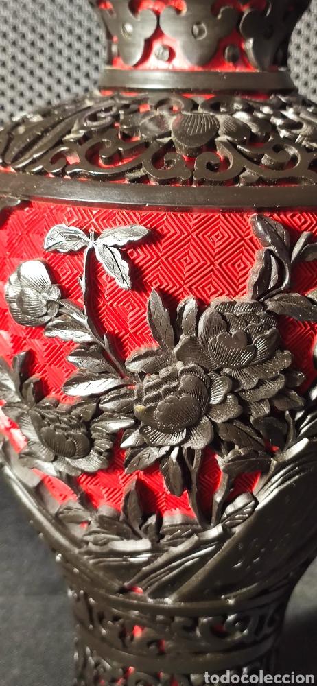 Antigüedades: Jarron chino laca cinabrio - Foto 6 - 284635353