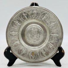 Antigüedades: ANTIGUA PATENA DE ESTAÑO. Lote 284637363