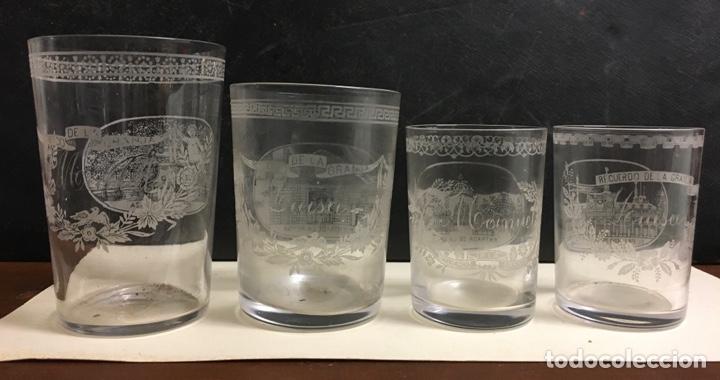 Antigüedades: Antiguo s vasos en Cristal de la Granja, grabados al ácido ,Siglo XIX - Foto 2 - 284666898