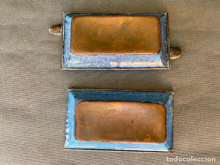Antigüedades: LOTE DE 2 CENICEROS ESMALTADOS CON BORDES EN PLATA DE LEY , VINTAGE - Foto 3 - 284695558