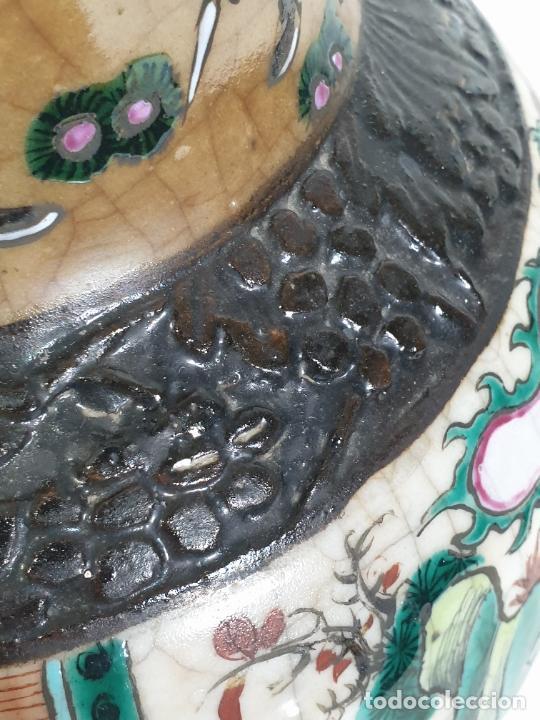 Antigüedades: Antiguo Jarrón en Porcelana China - Canton- Decorado en Craquele y Personajes - Finales S. XIX - Foto 5 - 284714318