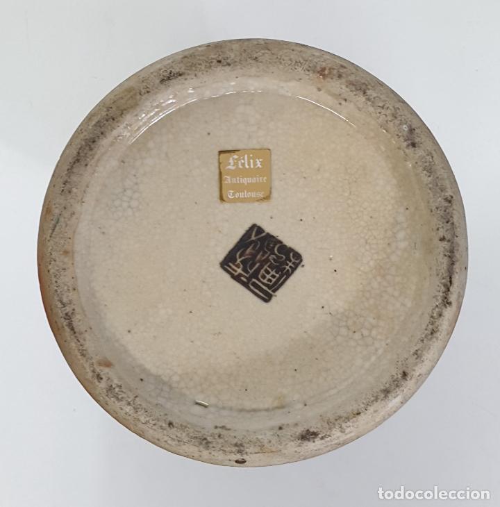 Antigüedades: Antiguo Jarrón en Porcelana China - Canton- Decorado en Craquele y Personajes - Finales S. XIX - Foto 9 - 284714318
