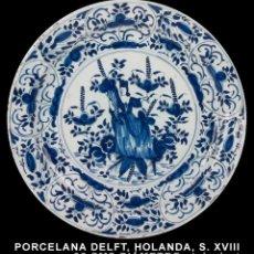 Antigüedades: PORCELANA DELFT, HOLANDA, SIGLO XVIII PLATO GRANDE 35 CMS DIÁMETRO. Lote 284716858