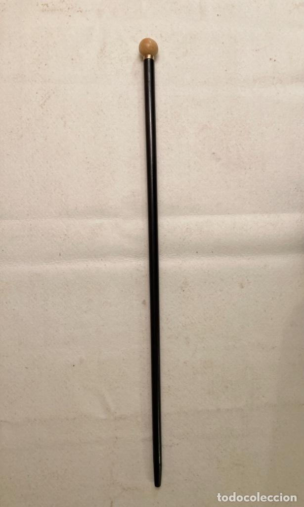 Antigüedades: Bastón antiguo de paseo, puño bola marfil sobre cuello metal. Caña madera ébano o similar ebonizada. - Foto 5 - 284762873