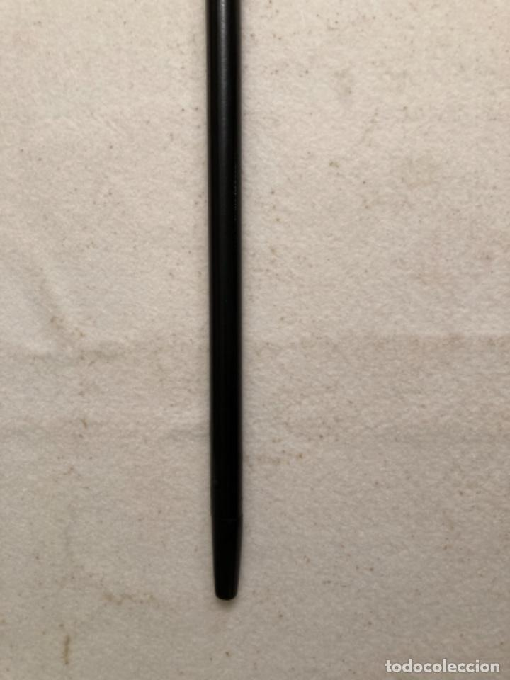 Antigüedades: Bastón antiguo de paseo, puño bola marfil sobre cuello metal. Caña madera ébano o similar ebonizada. - Foto 7 - 284762873