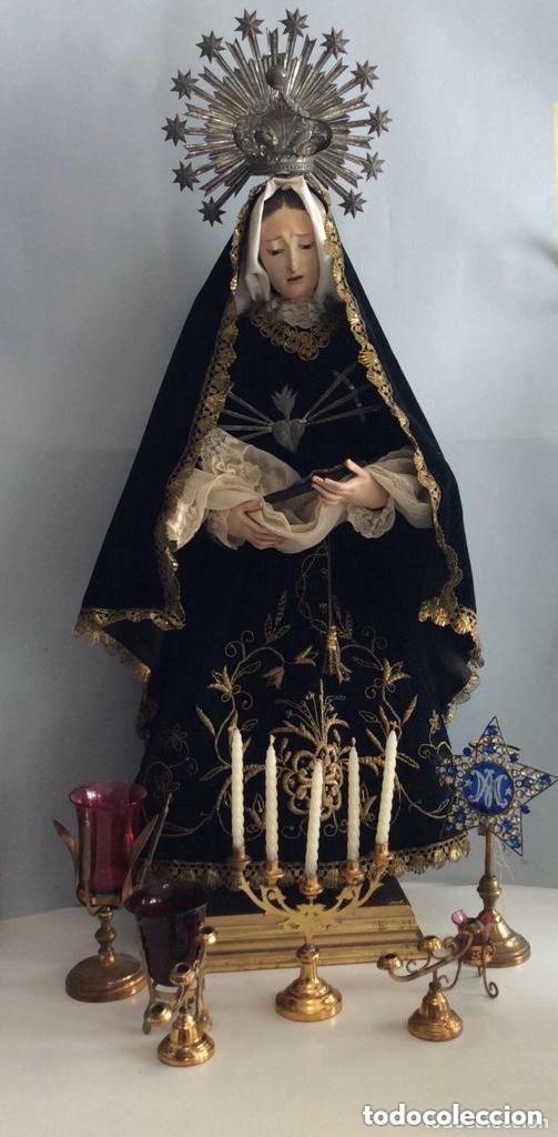 Antigüedades: Virgen Dolorosa con Urna ,Cap i Pota, talla Policromada ,vestido y manto bordado -Siglo XIX-Alt 90cm - Foto 4 - 284838888