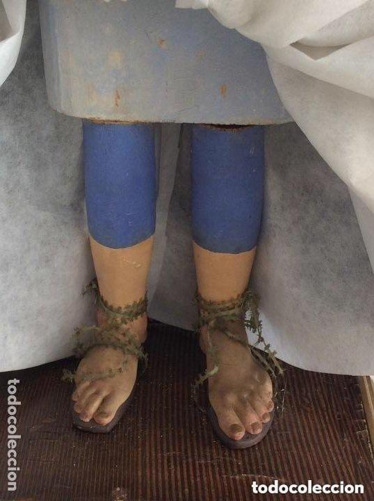 Antigüedades: Virgen Dolorosa con Urna ,Cap i Pota, talla Policromada ,vestido y manto bordado -Siglo XIX-Alt 90cm - Foto 5 - 284838888
