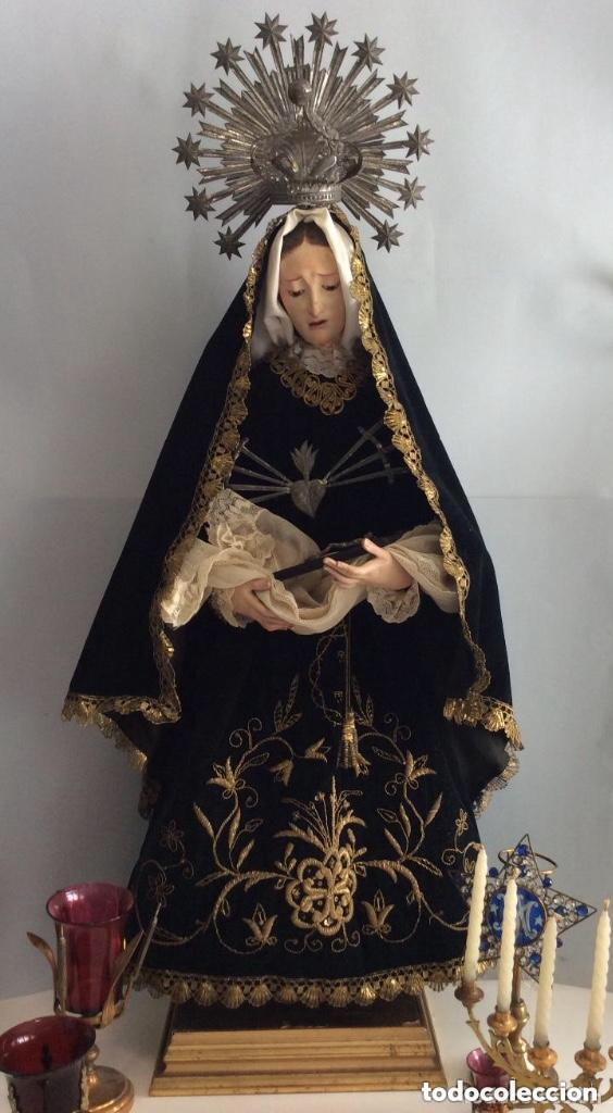 Antigüedades: Virgen Dolorosa con Urna ,Cap i Pota, talla Policromada ,vestido y manto bordado -Siglo XIX-Alt 90cm - Foto 6 - 284838888