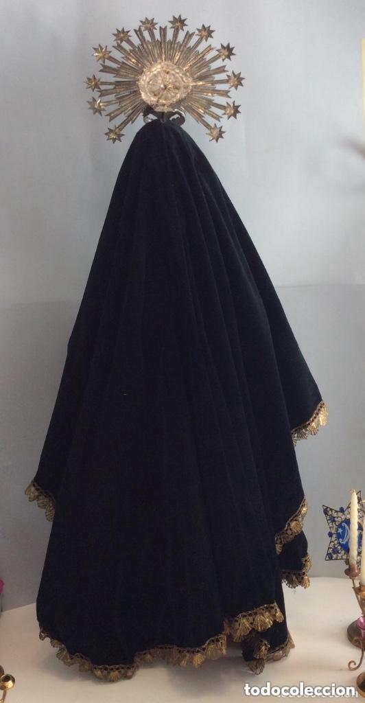 Antigüedades: Virgen Dolorosa con Urna ,Cap i Pota, talla Policromada ,vestido y manto bordado -Siglo XIX-Alt 90cm - Foto 12 - 284838888