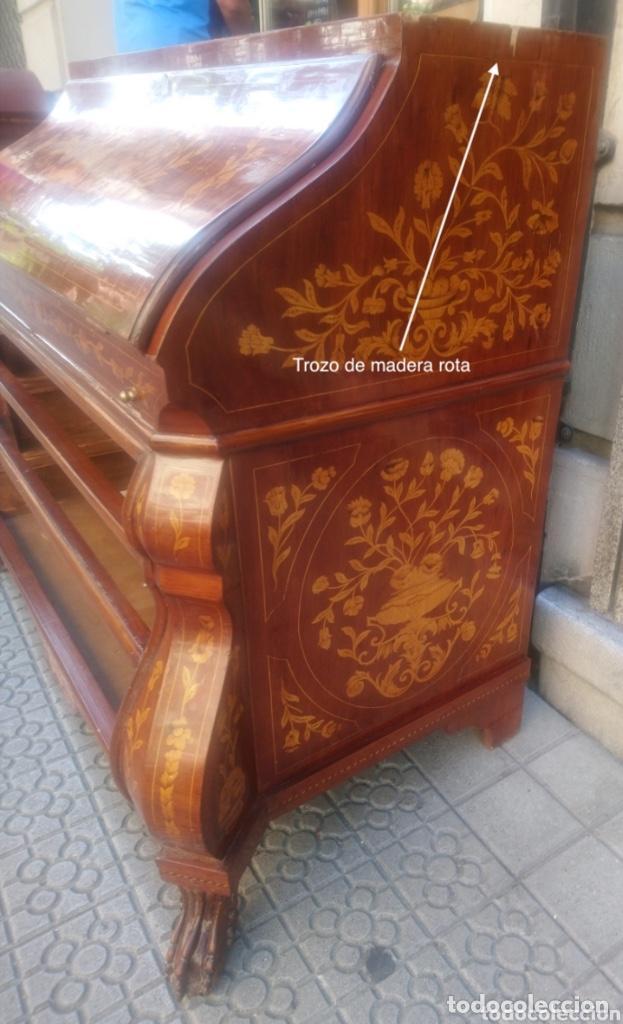Antigüedades: Bureau bookcase estilo Chippendale en madera lacada ,Medida 210X107X60cm - Foto 11 - 285129938