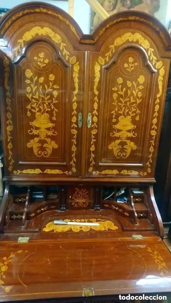 Antigüedades: Bureau bookcase estilo Chippendale en madera lacada ,Medida 210X107X60cm - Foto 12 - 285129938