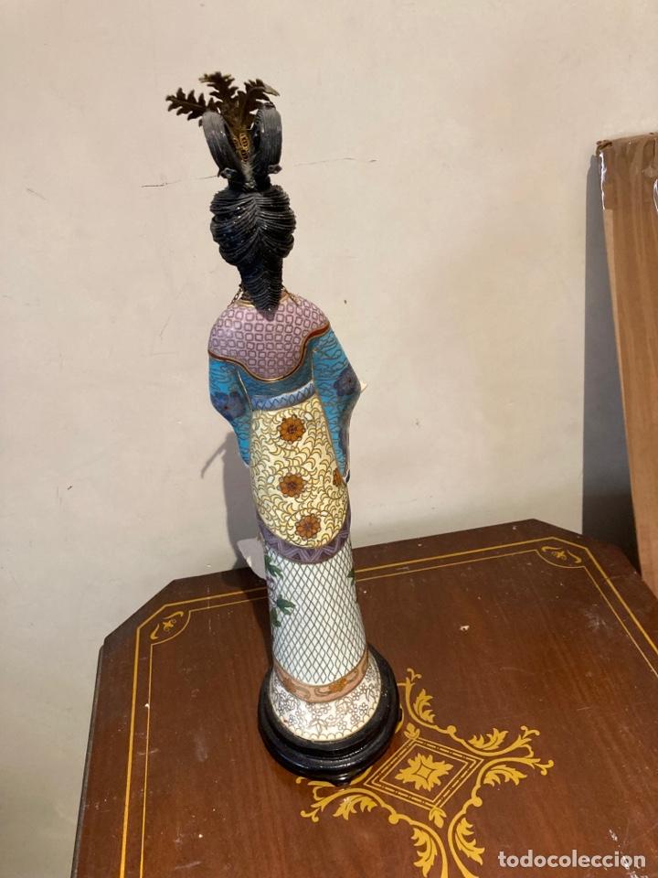 Antigüedades: Preciosa figura oriental de porcelana y esmalte cloissone - Foto 11 - 285147133