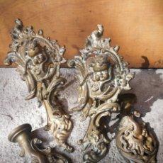 Antigüedades: PRECIOSOS SOPORTES DE BRONCE PARA CORTINA CON ANGEL EN RELIEVE. 25CM.. Lote 285206648