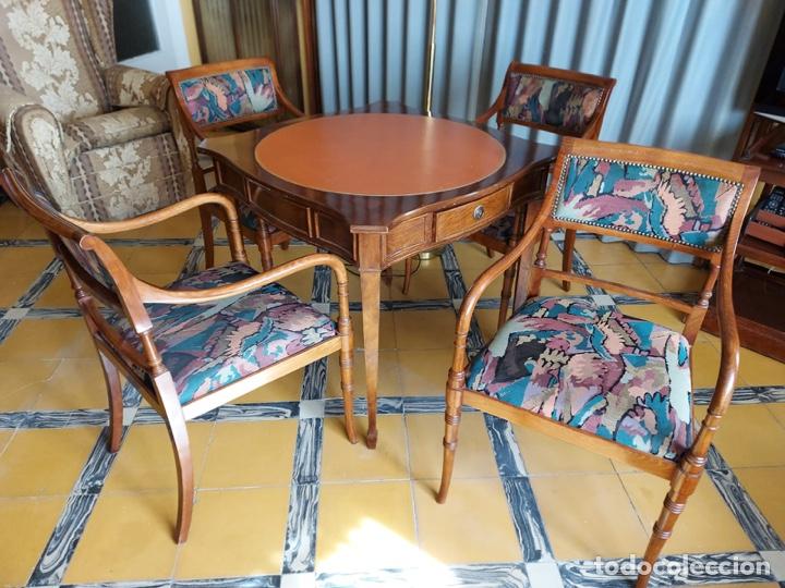 """Antigüedades: Mesa de diseño ( juego de cartas) y 4 sillones . """"Moliner Artal"""" - Foto 2 - 285314308"""