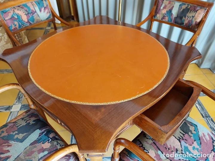 """Antigüedades: Mesa de diseño ( juego de cartas) y 4 sillones . """"Moliner Artal"""" - Foto 3 - 285314308"""