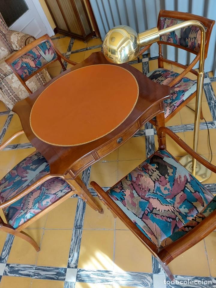 """Antigüedades: Mesa de diseño ( juego de cartas) y 4 sillones . """"Moliner Artal"""" - Foto 4 - 285314308"""