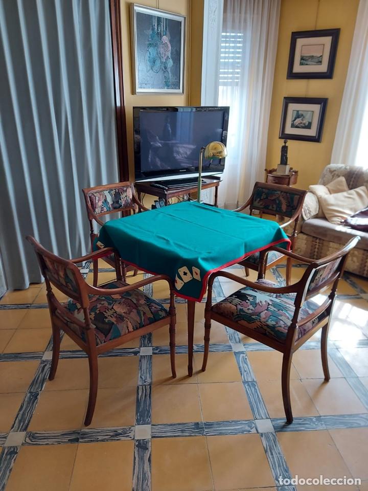 """Antigüedades: Mesa de diseño ( juego de cartas) y 4 sillones . """"Moliner Artal"""" - Foto 5 - 285314308"""