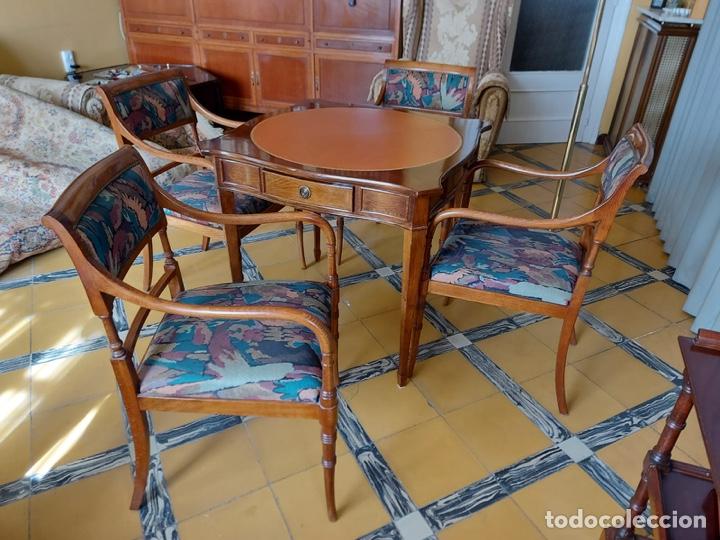 """Antigüedades: Mesa de diseño ( juego de cartas) y 4 sillones . """"Moliner Artal"""" - Foto 6 - 285314308"""