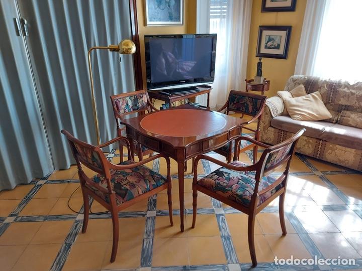 """Antigüedades: Mesa de diseño ( juego de cartas) y 4 sillones . """"Moliner Artal"""" - Foto 7 - 285314308"""