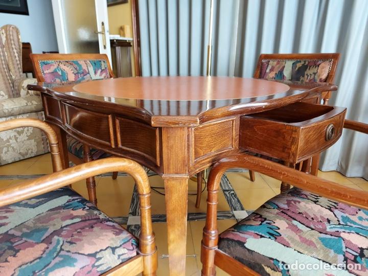"""Antigüedades: Mesa de diseño ( juego de cartas) y 4 sillones . """"Moliner Artal"""" - Foto 8 - 285314308"""