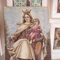 Antigüedades: AZULEJO PLACA CERAMICA VIRGEN DEL CARMEN SIGLO XIX. Lote 285411728