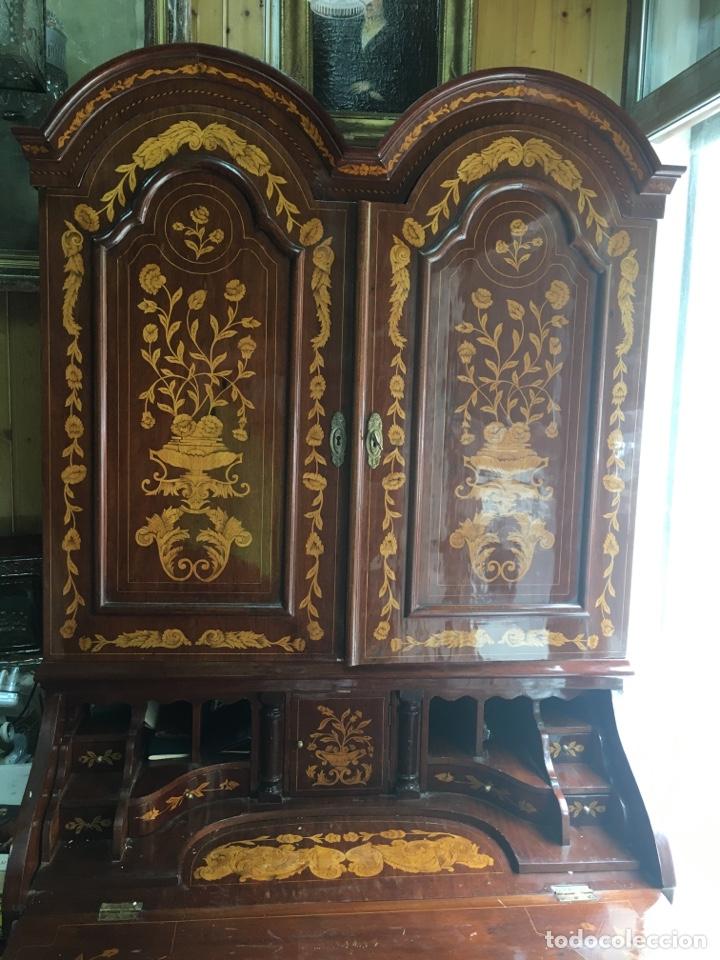 Antigüedades: Bureau bookcase estilo Chippendale en madera lacada ,Medida 210X107X60cm - Foto 13 - 285129938