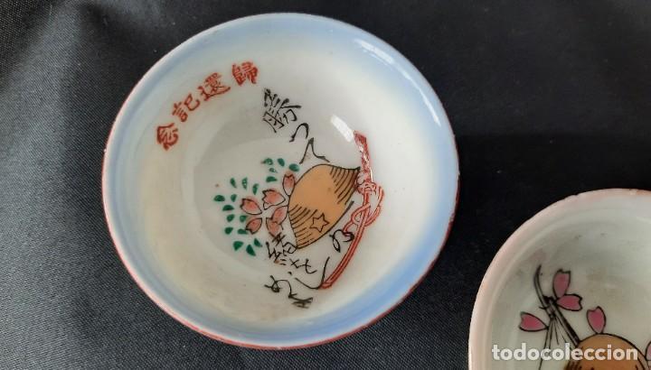 Antigüedades: Pareja de vasos de sake japoneses segunda guerra mundial. Cerámica. Primera mitad siglo XX - Foto 7 - 285468543